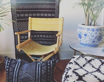 Mustard Yellow & White African Mudcloth Directors Chair - Solid Wood Frame - One of a kind