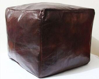 PREMIUM SQUARE Moroccan Pouffe Pouf Ottoman Footstool - Genuine Leather