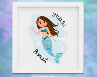 Mermaid Clipart, Mermaid Princess, Under the Sea, Printable Wall art, Digital Download, Commercial Use, Vector clip art, SVG Cut Files