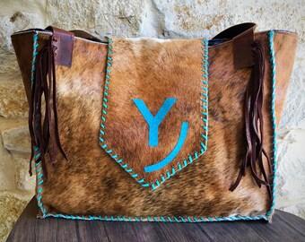 cowhide livestock brand diaper bag or large purse