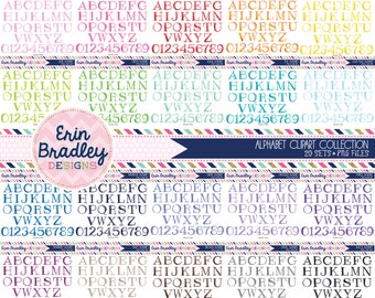 Alphabet Clipart Bundle Set Digital Scrapbooking Handrawn Alpha Clip Art Personal & Commercial Use - 20 Colors