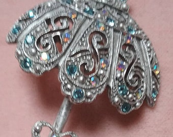 parasol pin silver and white with rhinestones