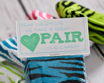 Valentine Printable - We Make A Great Pair - PERSONALIZED - Socks Valentines - Classroom Valentine