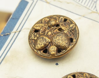 5 Vintage Metal Open Work Picture Stamped Strawberry Buttons on Card Sewing Jewelry Assemblage Craft Supply
