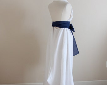 custom white linen chic halter long dress / alternative wedding / wedding dress with obi / casual wedding dress / beach wedding dress
