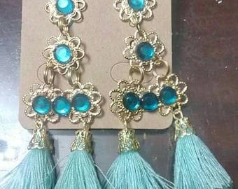 Earrings double tassel green water