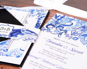 Wedding Invitations - DEPOSIT TO START Blue Paisley Suite - Custom Wedding Invites - Personalized Wedding Invitations - Wedding Suites