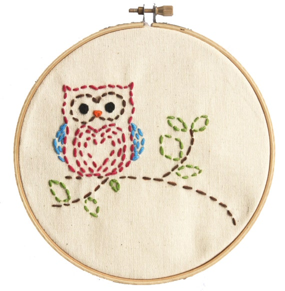 Easy Embroidery Kit For Beginners Sewing Project Little Woodland Owl