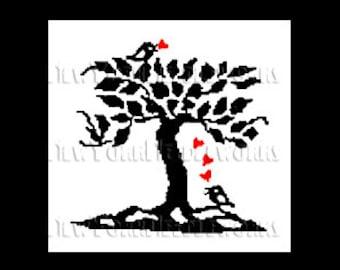 Love Birds Silhouette, Birds Cross Stitch, Bird Silhouette Pattern, Cross Stitch, Needlepoint, Silhouette from NewYorkNeedleworks on Etsy