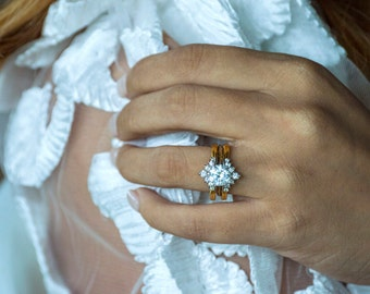 Elegant Baguette Engagement Ring Guard Sterling Silver Ring