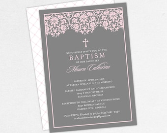 Girl Baptism Invitation, Christening Invitation, Printable Baptism Invitation, PDF Invite, DIY Invite, Lace, Floral, Damask, Pink, Maura