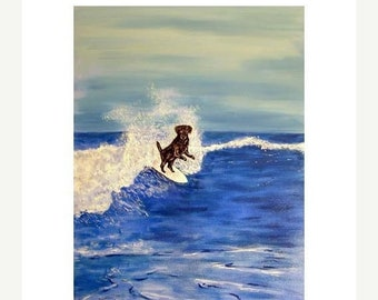 25% off Black Labrador Retriever Surfing Art Print