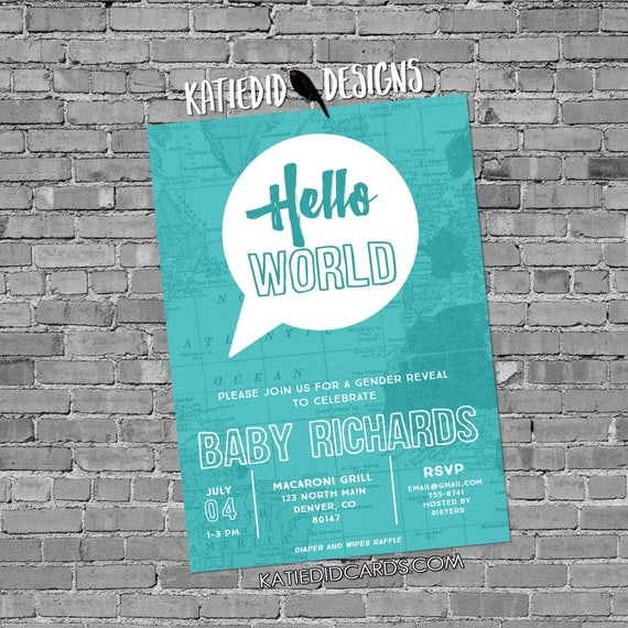 hello world baby shower oh the places you'll go adventure awaits travel themed gray teal invitation surprise gender 1481b Katiedid Designs