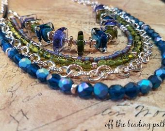 Multi-Strand Necklace - Art Glass Necklace, Lampwork Necklace, Czech Glass Necklace