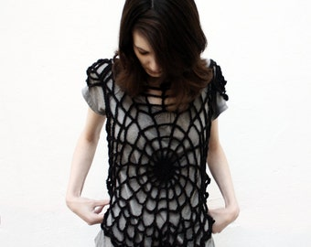 Crochet Pattern: Spiderwebs T-Shirt Goth Crochet Year Round Gothic Lacy Overshirt Small, Medium, Large, XL, XXL, 2XL DIY Halloween Costume