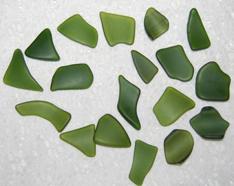 Olive Green Faux Sea Glass undrilled lot - 18 pieces