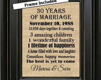 30th wedding anniversary gifts for couples