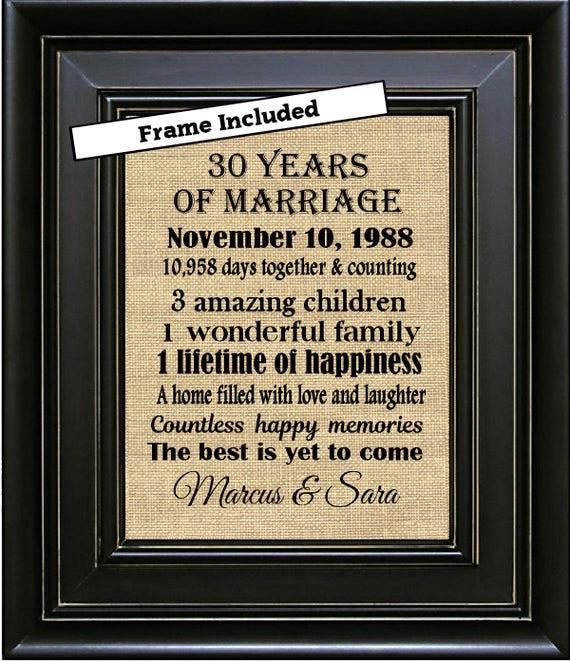 30th Wedding Anniversary Gift Ideas For Men: FRAMED Personalized 30th Anniversary Gifts/30th Wedding