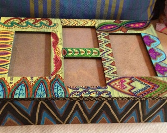 Hand Painted Bohemian Design Wood Four Photo Memory Box For Home or Office  B0027