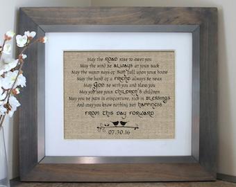 Irish Blessing on Burlap   Irish Wedding Gift   Personalized Irish Blessing   Personalized Irish Decor   May the Road Rise to Meet You