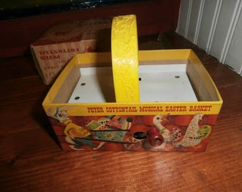 Vintage Easter Peter Cottontail musical basket with original box wind up works by Mattel