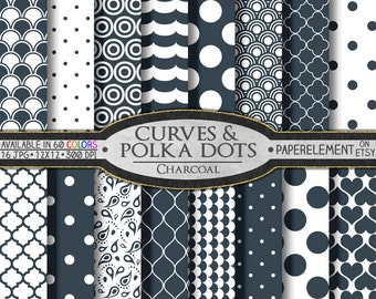 Charcoal Gray Polka Dot Digital Paper: Gray Digital Polkadot Pattern - Circles Scrapbook Paper with Gray Printable Heart Shapes