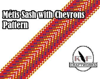 Loom Beading Pattern - Métis Sash With Chevrons