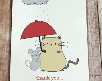 "Peanut Cat Collection - Yellow Cat and Gray Mouse Holding Umbrella ""Thank You For Being Such a Wonderful Friend"" Friendship A2 Folded Card"