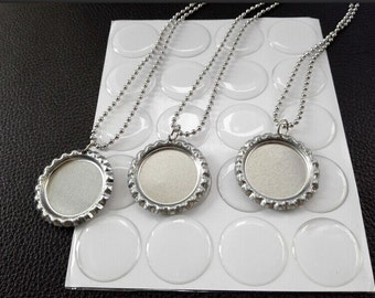50 Bottle cap necklace Kit- Flattened Flat Silver Bottle Caps+ Round Epoxy Stickers+ Stainless steel Ball Chain Necklaces,DIY Necklace kit