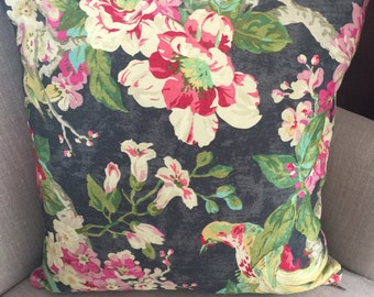 Cushion Cover/Pillow in Waverly Floral Engagement Twill Woodland or Nightfall.