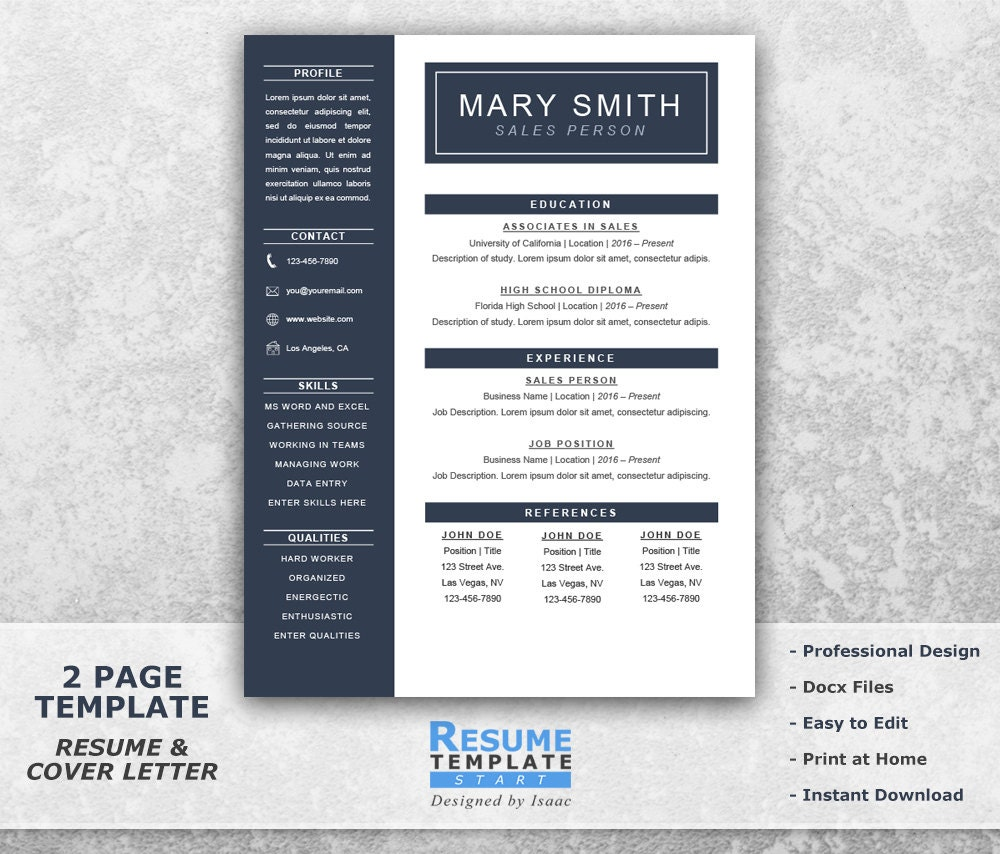 one page resume template word resume cover letter templates
