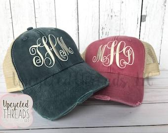Monogram Baseball Hat, Trucker Hat, Monogrammed Hat, Personalized Hat, Monogram Hat, Women's Hat, Distressed Hat, Summer Hat, Women's Cap