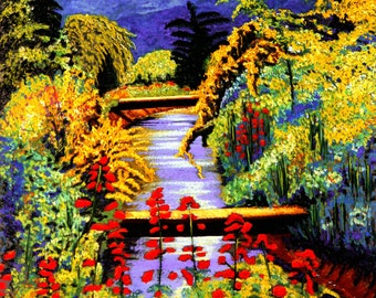 Fine Art Giclee Print, Spring Flowers, Brook, River, Pastel Painting By Jan Maitland, Landscape, Floral, Archival Print, 8 X 10