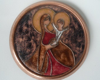 Virgin Mary and Jesus copper wall picture,religious art picture,round copper wall picture,Vintage copper wall hanging