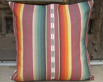 Southwestern Pillow Cover 16 x 16 to 24 x 24.  Sturdy, woven, free trade cotton, in serape, aztec design.