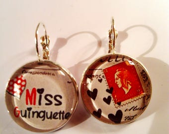 Earring ethnic dangle earrings original chic vintage black white red Paris eiffel tower