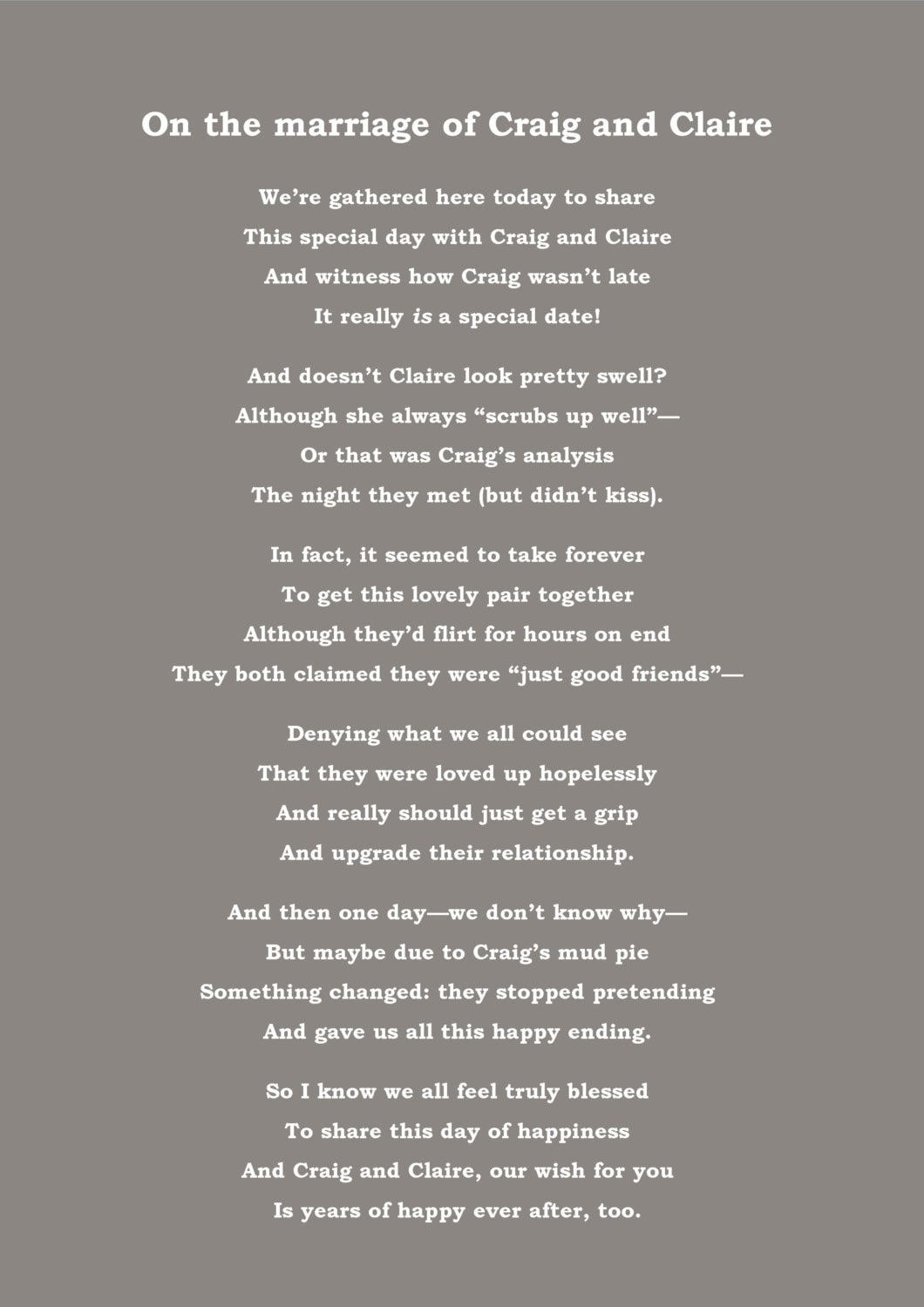 Bespoke Poem Speech By Email For Birthday Wedding Or