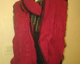 Very pretty scarf/cotton and acrylic red/lace black/party/birthday/event / Surprise/gift idea.