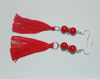 Earrings with red tassels and agate stones, red tassels, red earrings