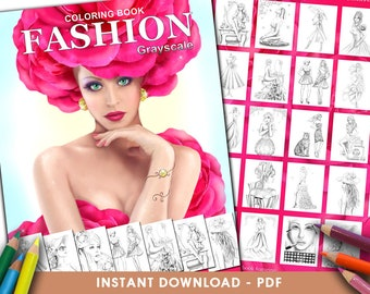 Printable Digital PDF - Fashion GRAYSCALE Coloring Book .Adult Coloring, instant DOWNLOAD. by Alena Lazareva