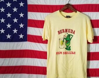 Vintage 80's Bermuda t-shirt - Rum Swizzle Frog! Yellow Medium / Large