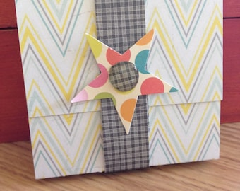 Sticky Note Pad with Cover - Chevrons, Stars, Dots - with Band Closure