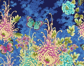 """Floral Fabric Panel:  Paintbrush Studio Flights of Fancy Butterfly 100% cotton fabric by the PANEL 23""""x44"""" (FQ263)"""