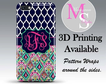 Monogram iPhone Case Personalized Phone Case Lilly Pulitzer Inspired Monogrammed iPhone 6, Iphone 4, 4S iPhone 5, 5S, 5C iPhone 6 Plus #2398