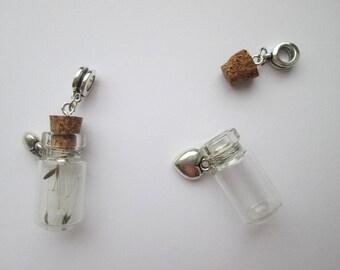 Glass bottle pendant for chains