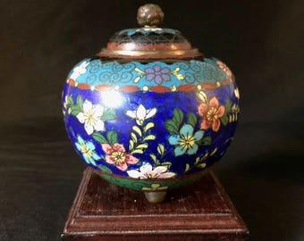 Meiji Period Japanese Ginbari Cloisonné Koro Jar Censer