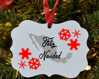 Spanish Merry Christmas Ornament, Mexico, Feliz Navidad