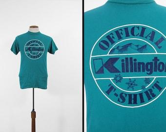 Vintage Killington VT Ski T-shirt Blue Green 80s Skier Tee - Size Small
