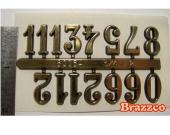 3/4 Inch Tall Gold Tone Self Adhesive Clock Repair Numbers NEW