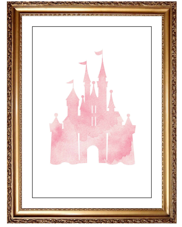 Pink Cinderella Castle Print Water Color Wall Art Castle